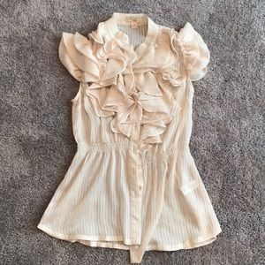Sheer, ruffle top blouse